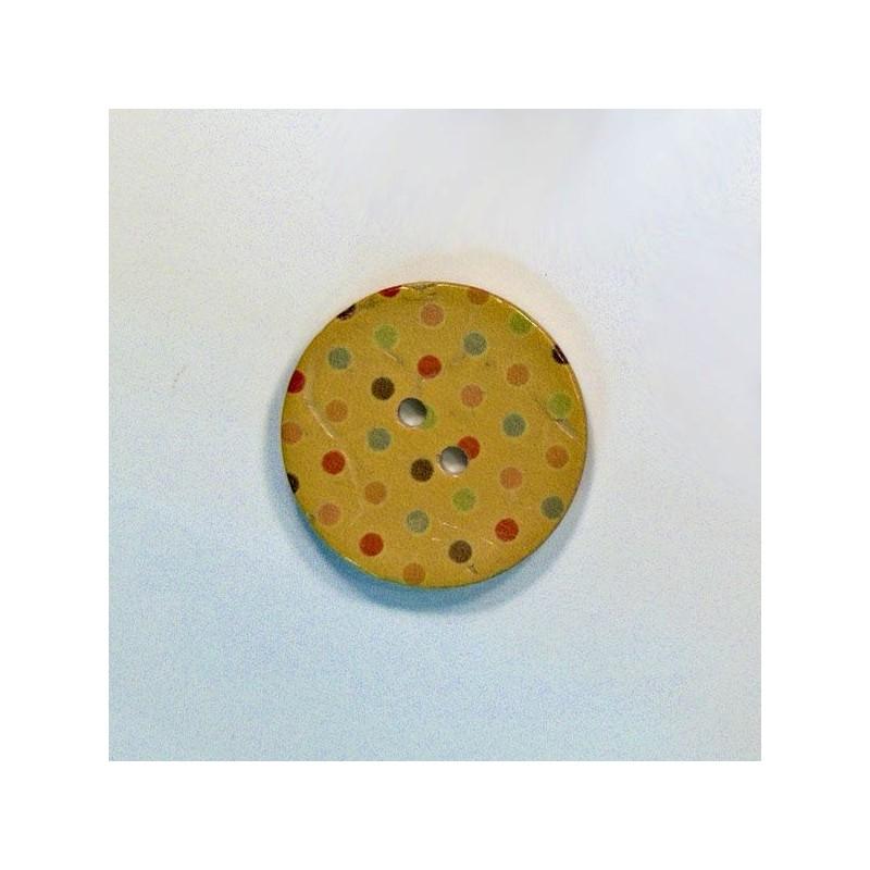 Bouton noix de coco à pois jaune