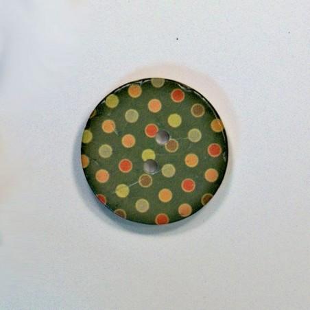 Bouton noix de coco à pois vert
