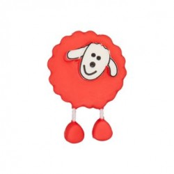 Bouton Mouton rouge vif
