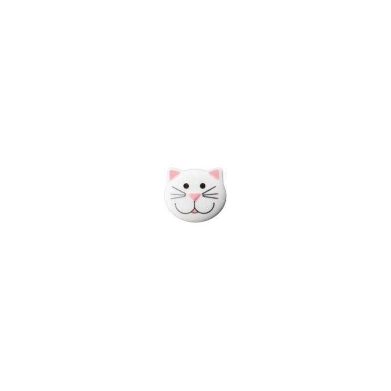 Bouton Chat blanc 20 mm