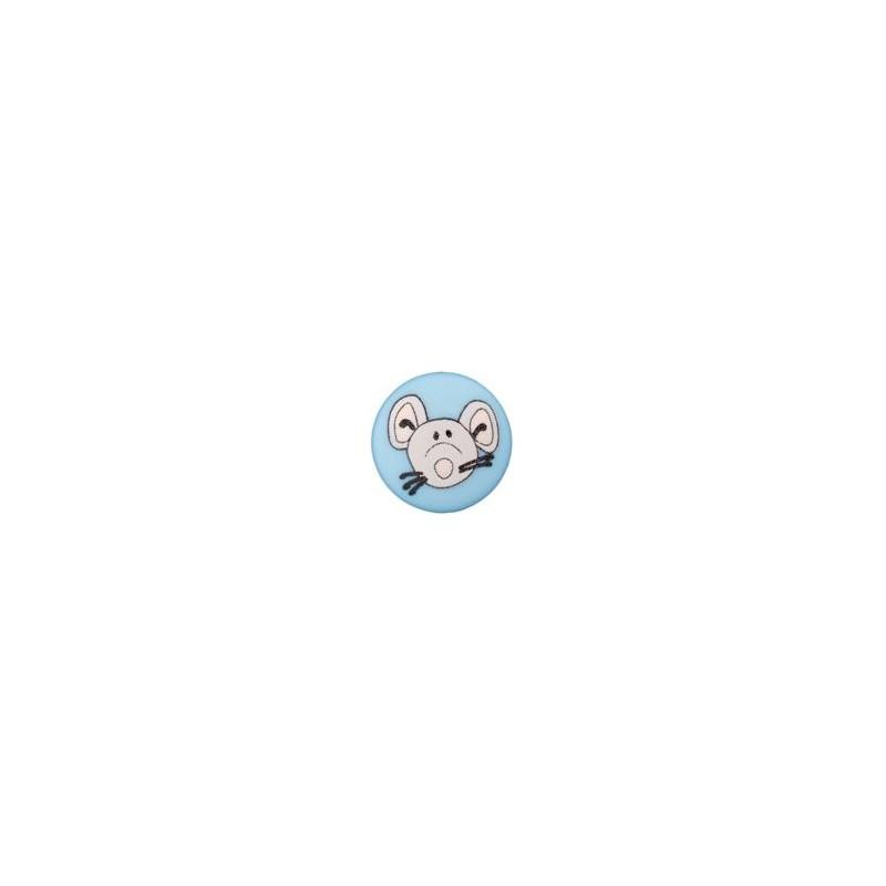 Bouton souris 12 mm bleu