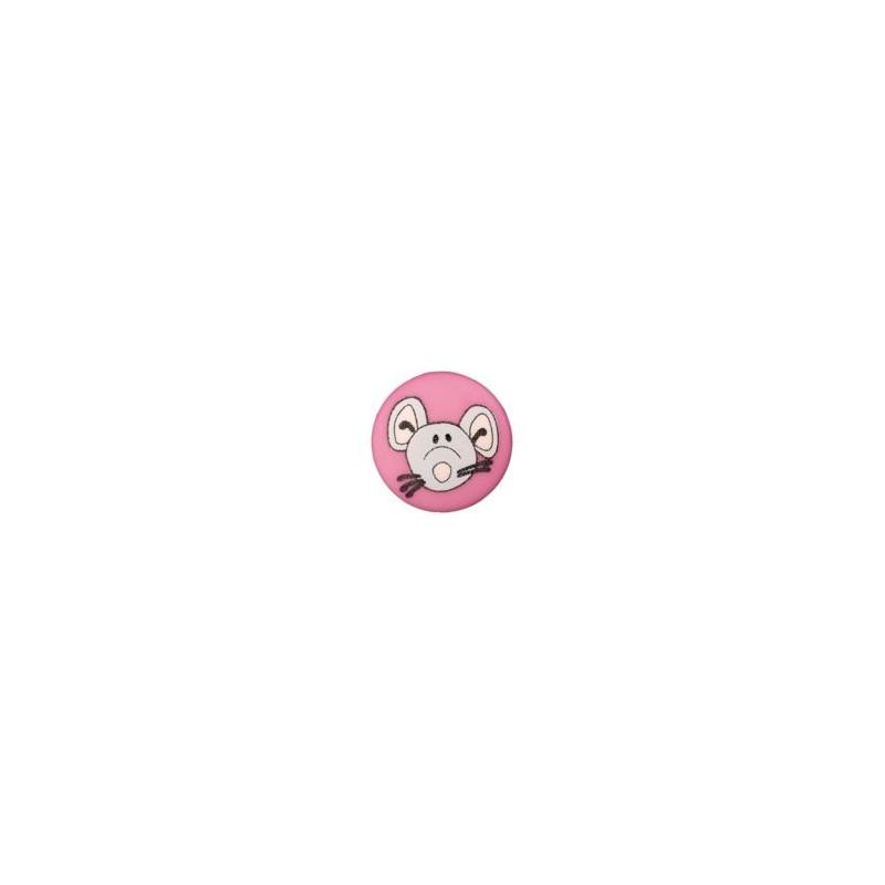 Bouton souris 12 mm rose