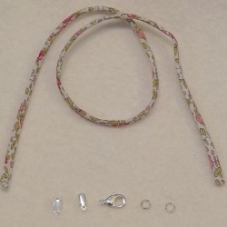 Kit bracelet cordon Liberty Eloise rose fond blanc