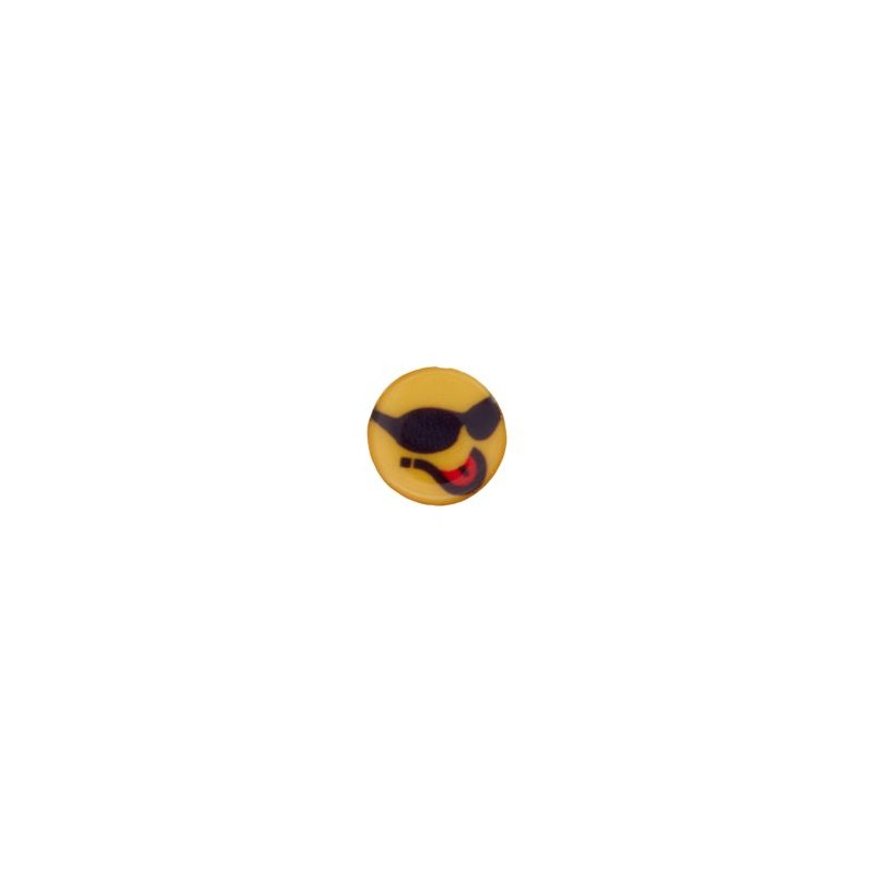 Bouton smiley lunettes