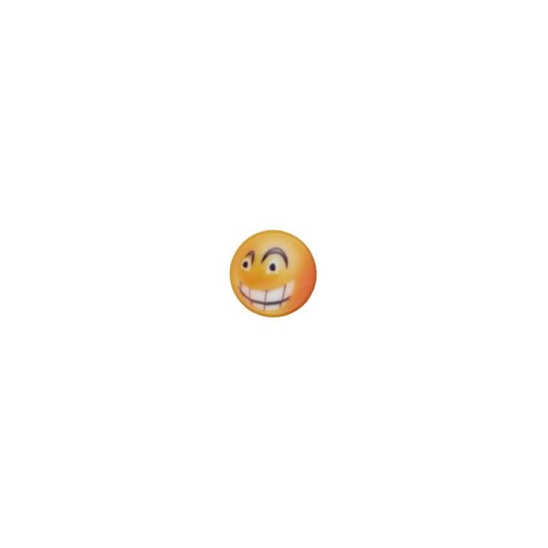 Bouton smiley sourire en coin