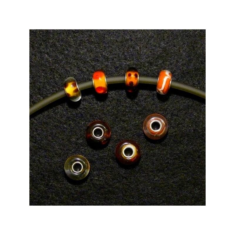 Perles en verre assorties couleur orangé