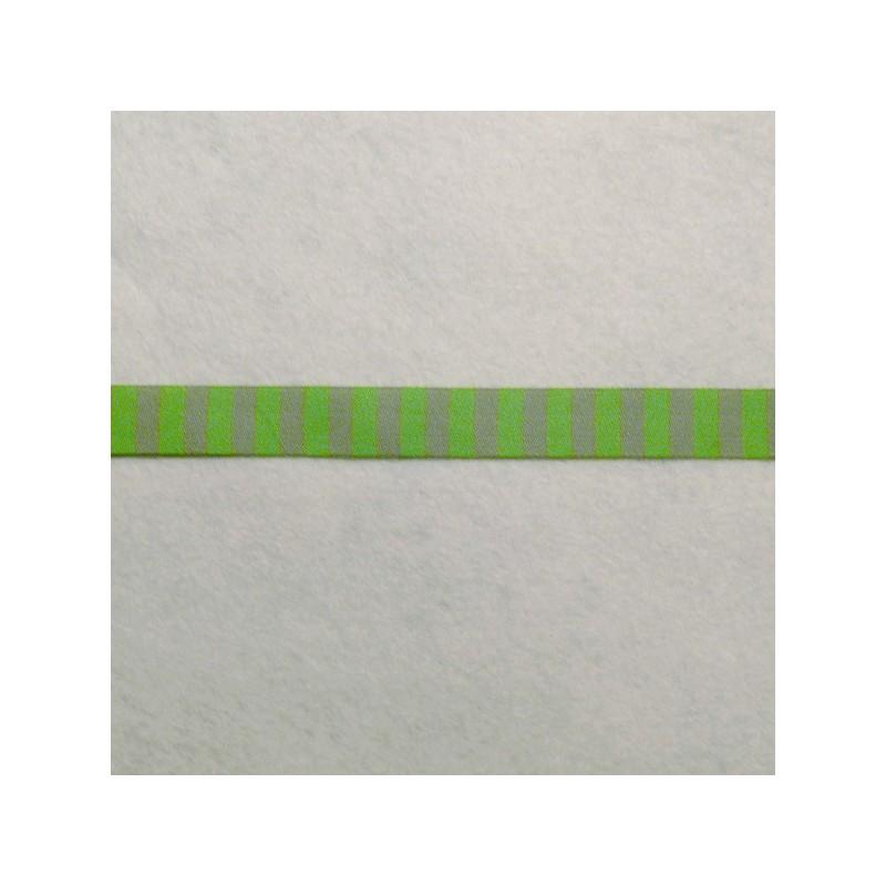 Galon rayé gris foncé et vert