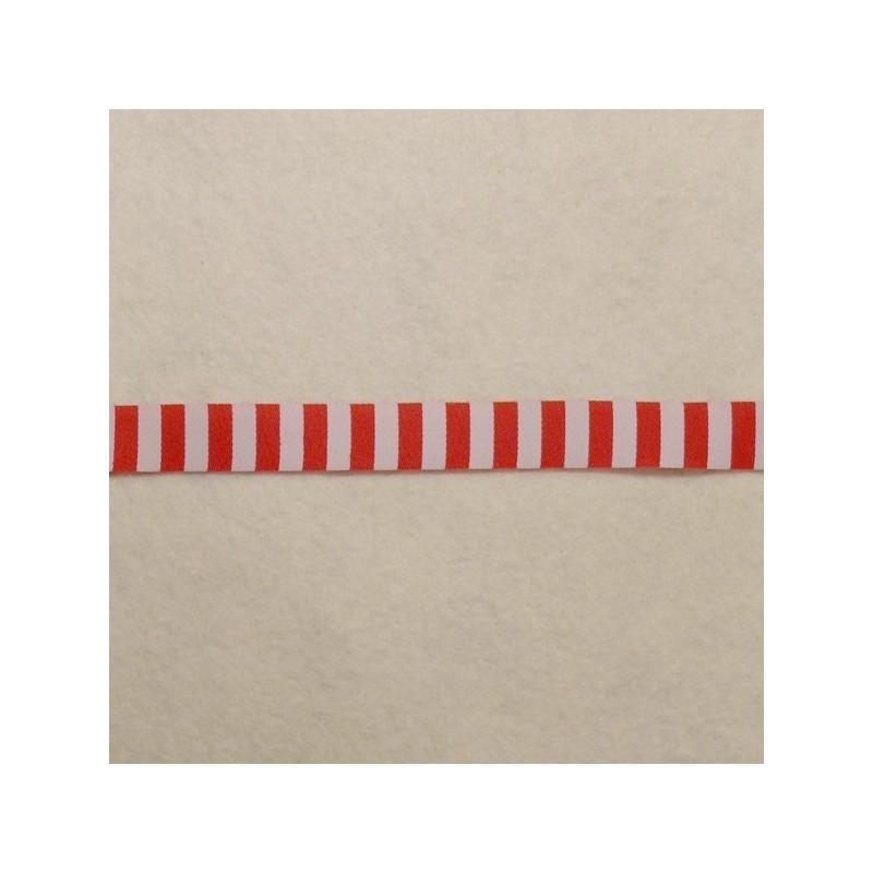 Galon rayé rouge et blanc